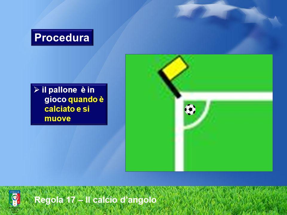 Procedura Regola 17 – Il calcio d'angolo il pallone è in