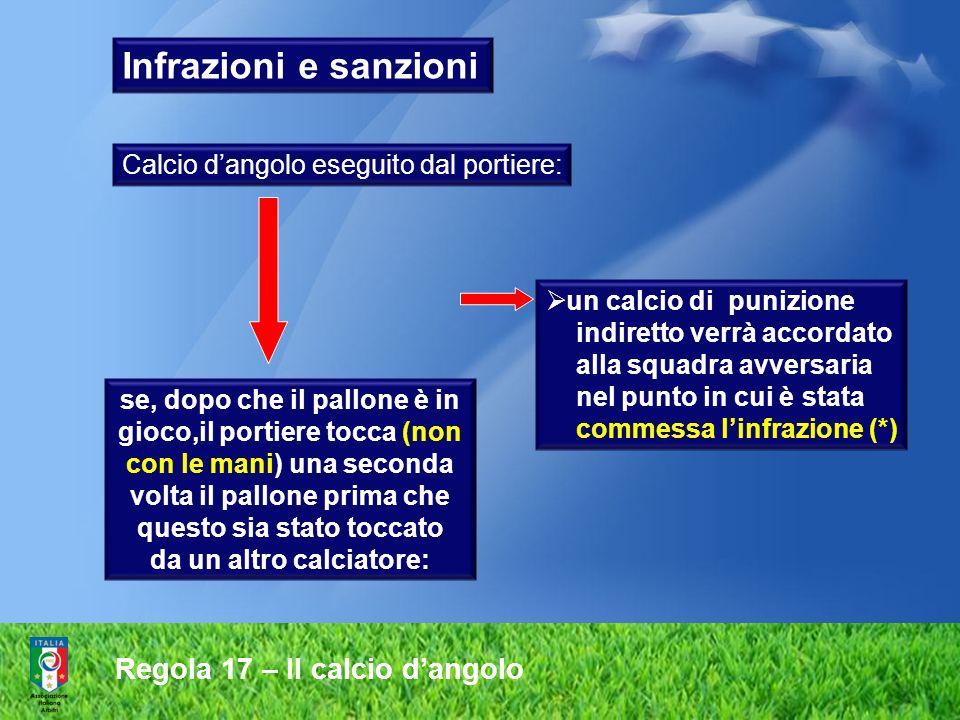 Infrazioni e sanzioni Regola 17 – Il calcio d'angolo
