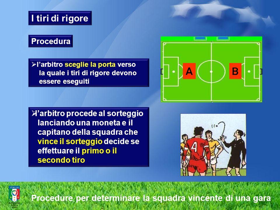 I tiri di rigore Procedura. l'arbitro sceglie la porta verso. la quale i tiri di rigore devono. essere eseguiti.