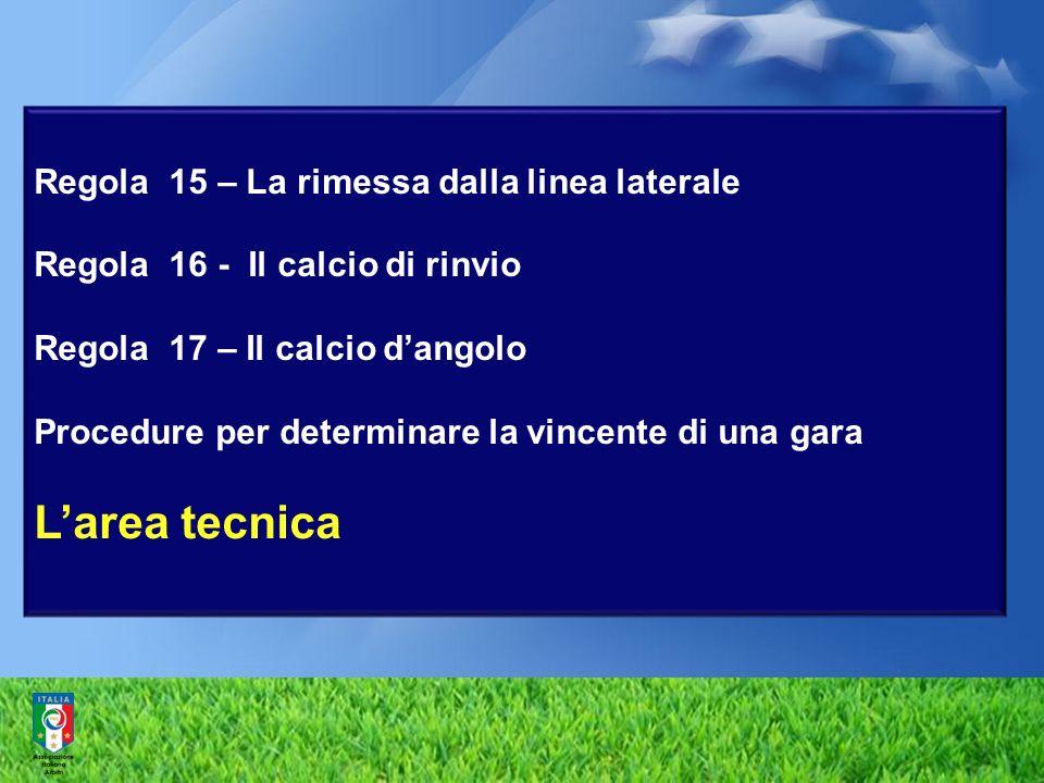 Regola 15 – La rimessa dalla linea laterale Regola 16 - Il calcio di rinvio Regola 17 – Il calcio d'angolo Procedure per determinare la vincente di una gara L'area tecnica