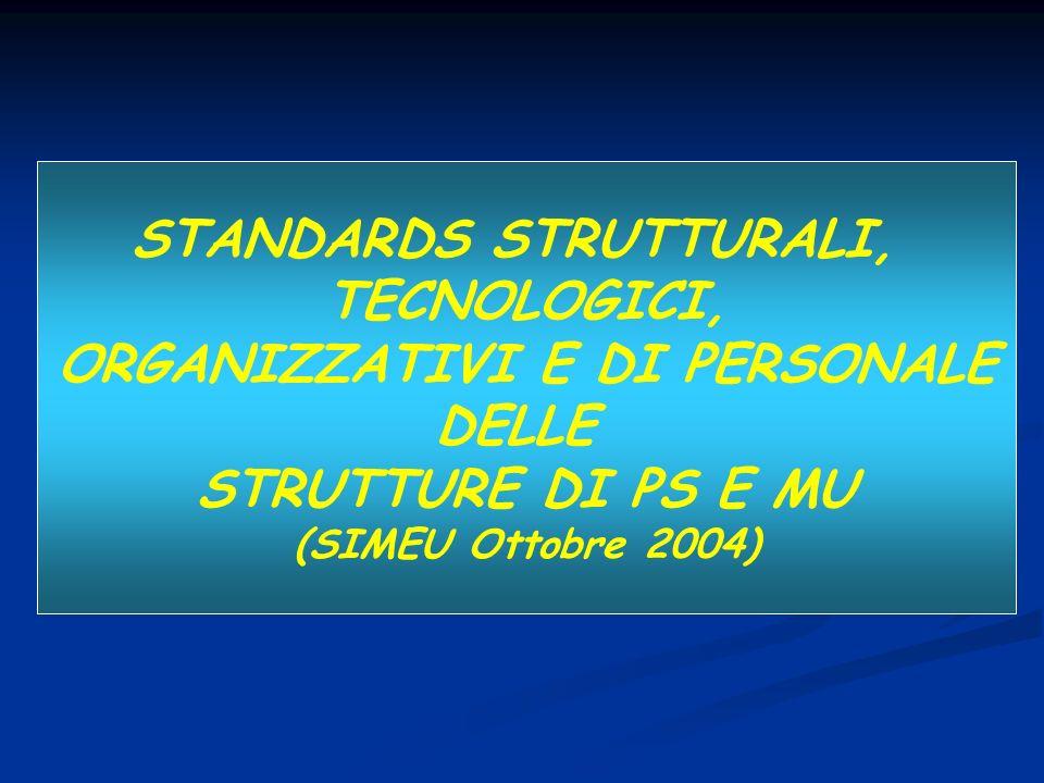 STANDARDS STRUTTURALI, ORGANIZZATIVI E DI PERSONALE