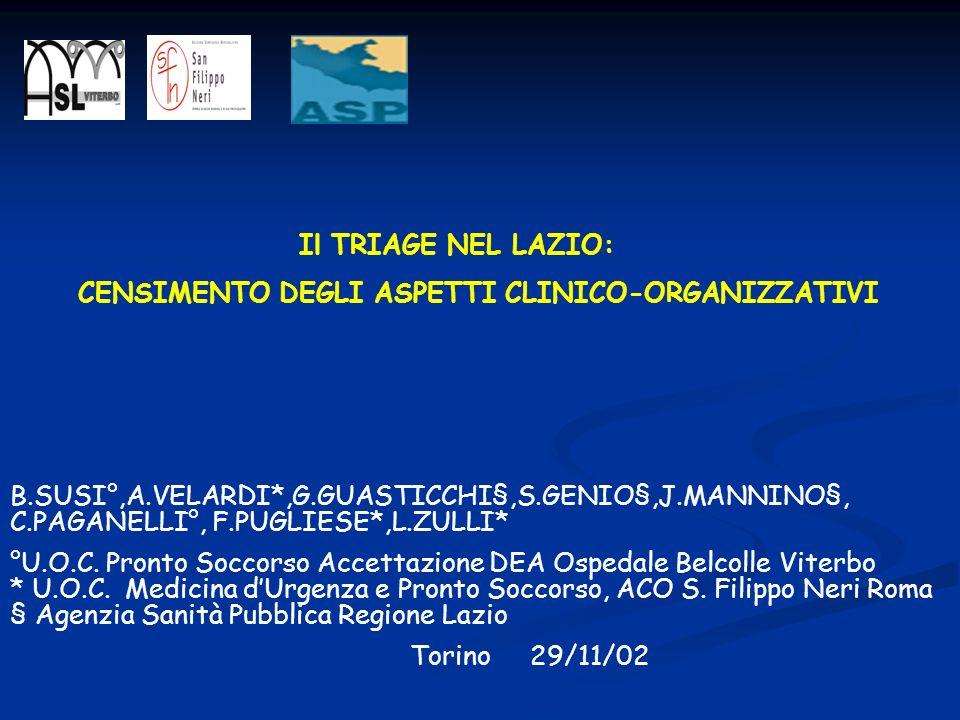Il TRIAGE NEL LAZIO: CENSIMENTO DEGLI ASPETTI CLINICO-ORGANIZZATIVI.
