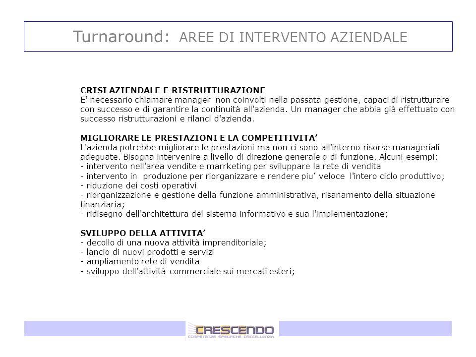 Turnaround: AREE DI INTERVENTO AZIENDALE