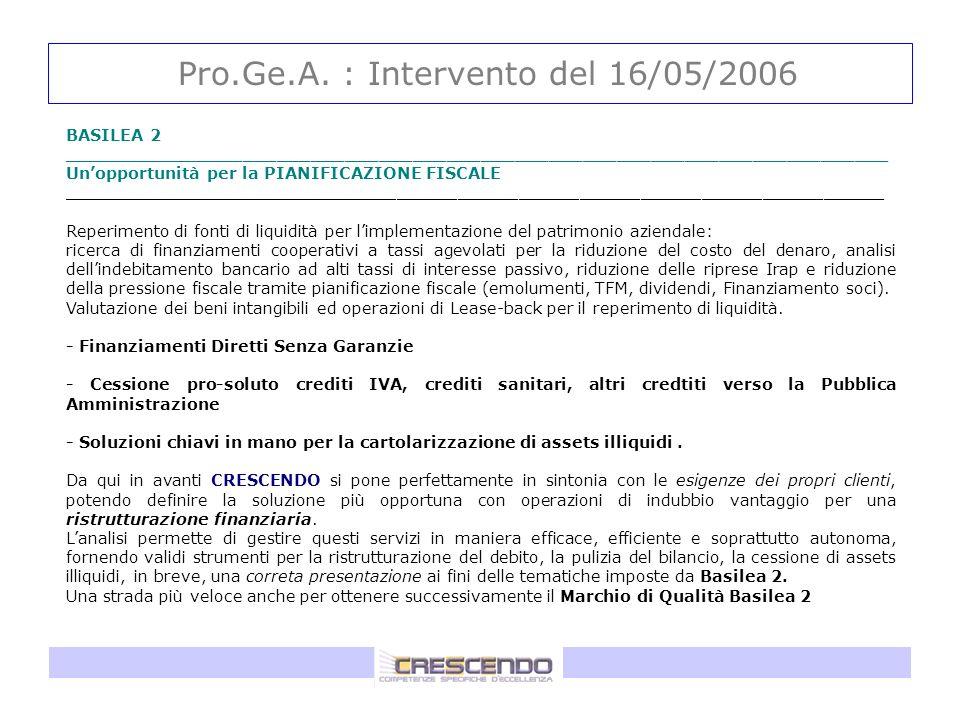 Pro.Ge.A. : Intervento del 16/05/2006