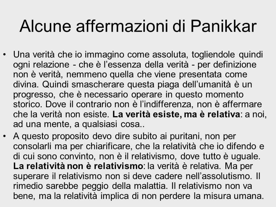 Alcune affermazioni di Panikkar