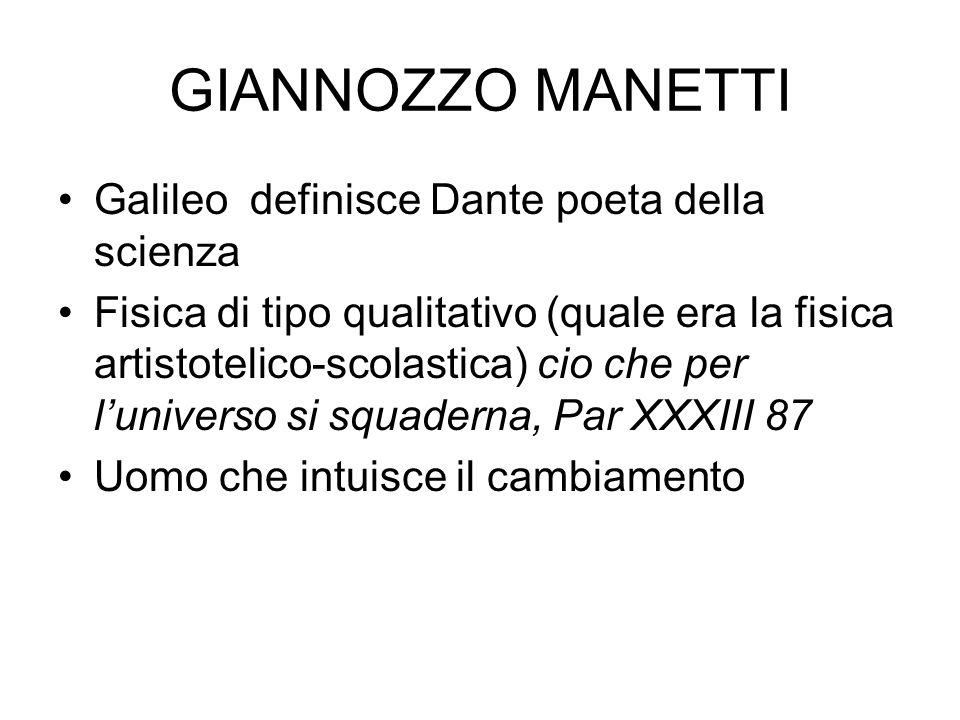 GIANNOZZO MANETTI Galileo definisce Dante poeta della scienza