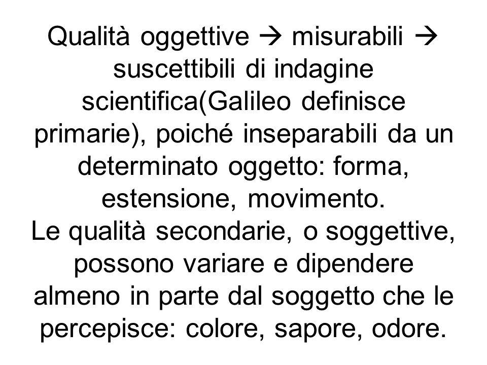Qualità oggettive  misurabili  suscettibili di indagine scientifica(Galileo definisce primarie), poiché inseparabili da un determinato oggetto: forma, estensione, movimento.