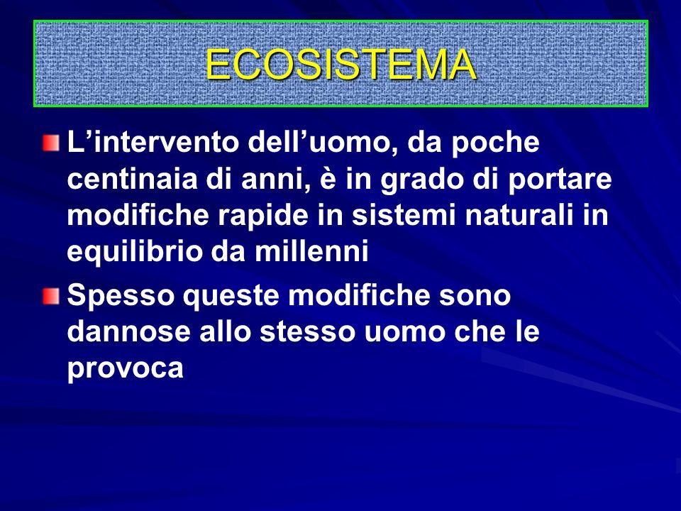 ECOSISTEMA L'intervento dell'uomo, da poche centinaia di anni, è in grado di portare modifiche rapide in sistemi naturali in equilibrio da millenni.