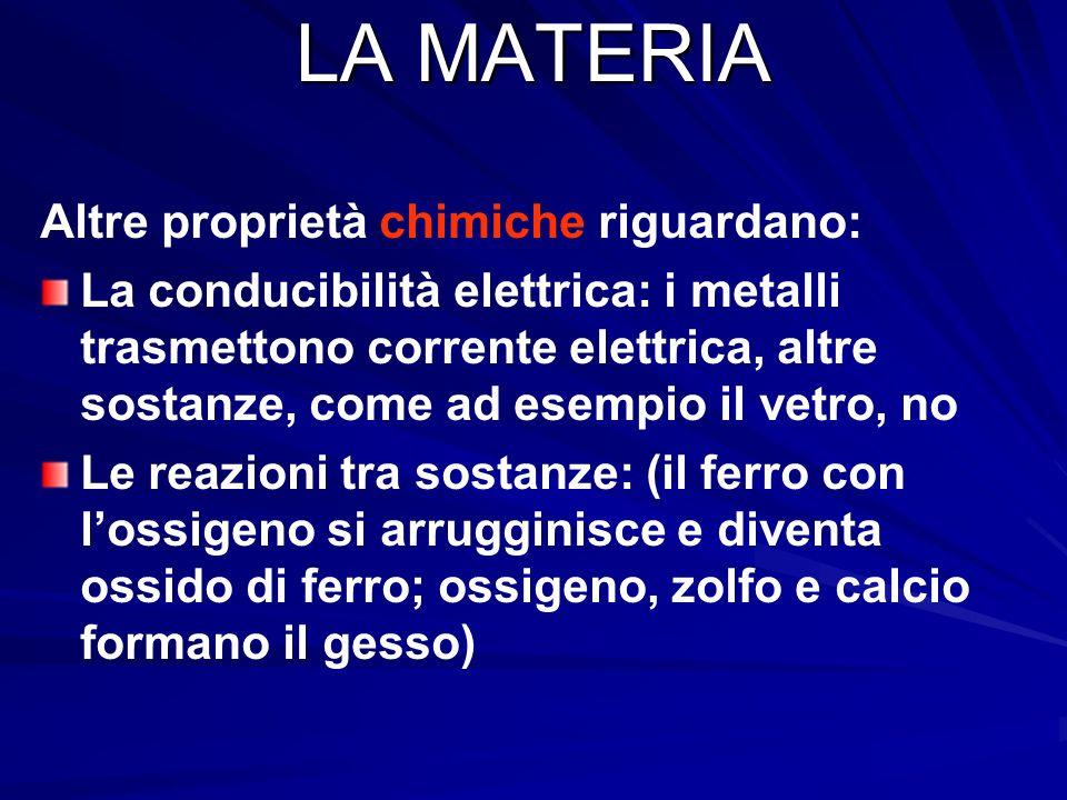 LA MATERIA Altre proprietà chimiche riguardano: