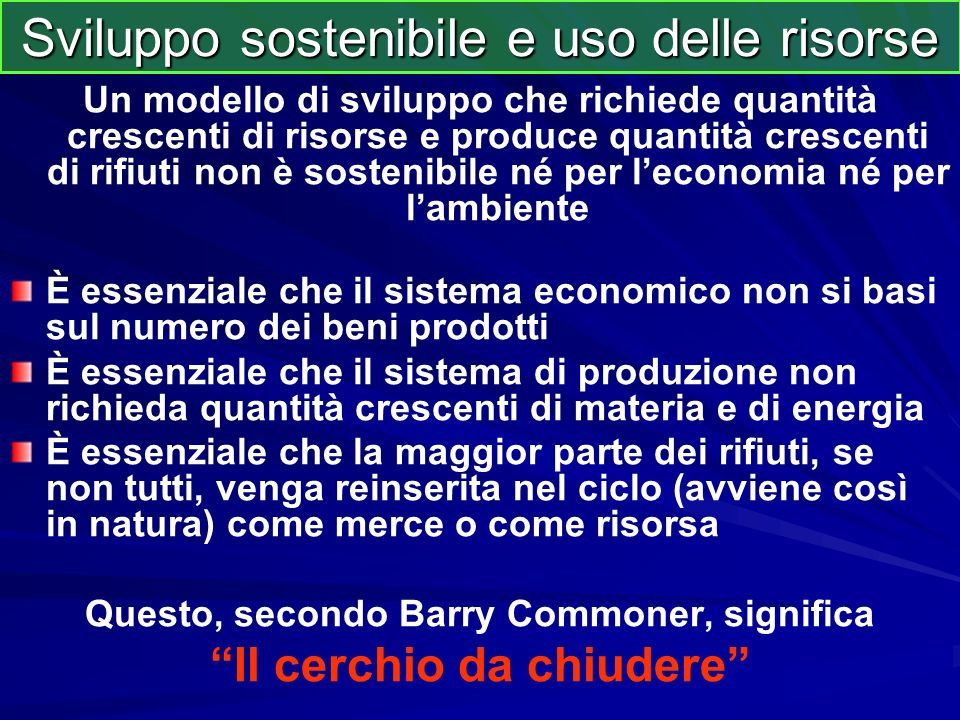 Sviluppo sostenibile e uso delle risorse