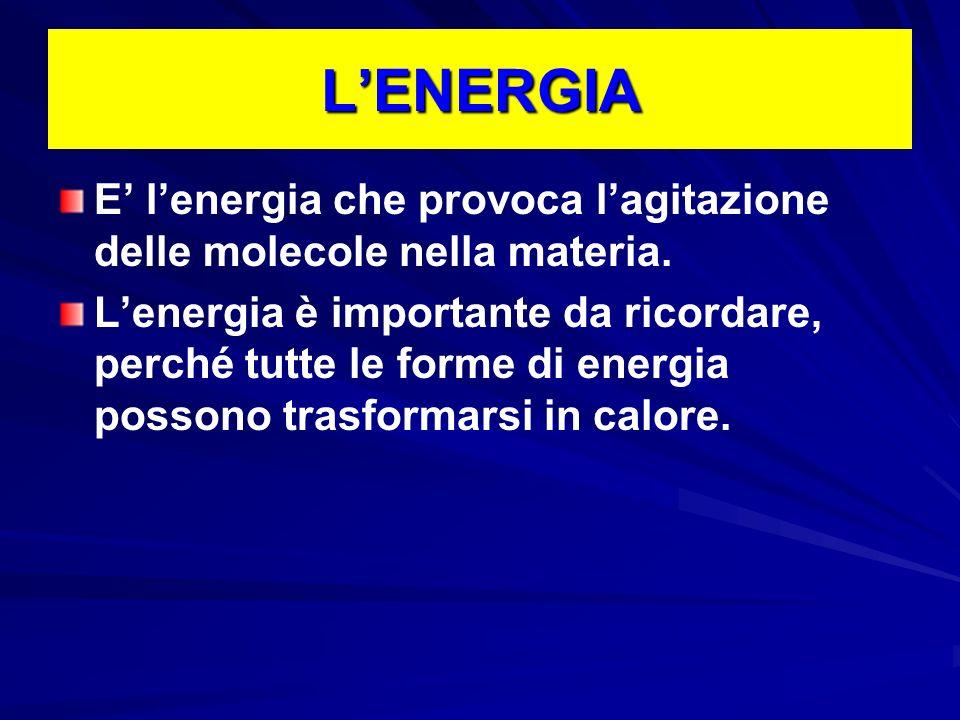 L'ENERGIA E' l'energia che provoca l'agitazione delle molecole nella materia.