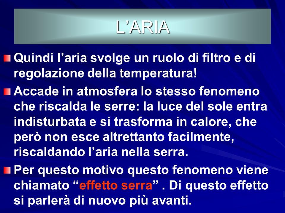L'ARIA Quindi l'aria svolge un ruolo di filtro e di regolazione della temperatura!