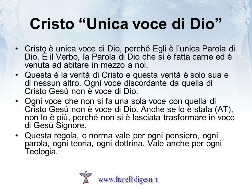Cristo Unica voce di Dio
