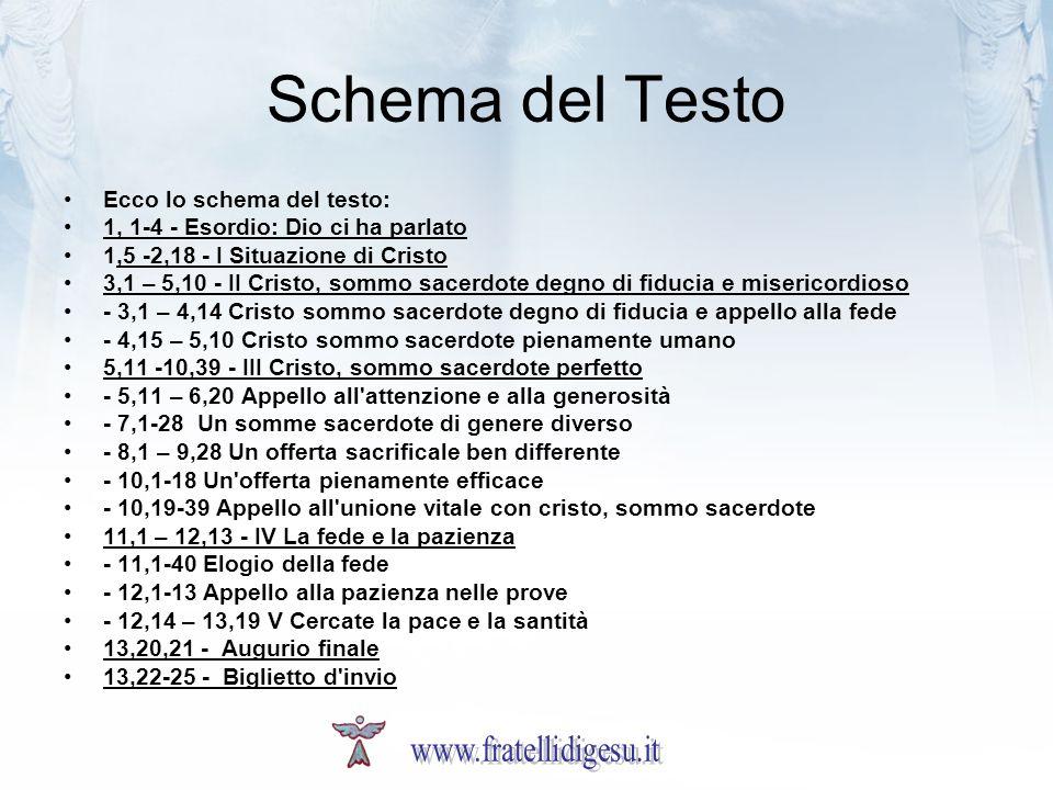 Schema del Testo www.fratellidigesu.it Ecco lo schema del testo:
