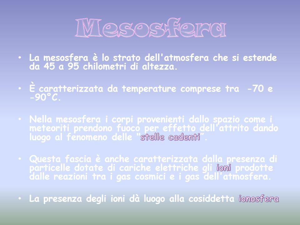 Mesosfera La mesosfera è lo strato dell atmosfera che si estende da 45 a 95 chilometri di altezza.
