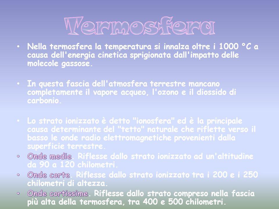 Termosfera Nella termosfera la temperatura si innalza oltre i 1000 °C a causa dell energia cinetica sprigionata dall impatto delle molecole gassose.