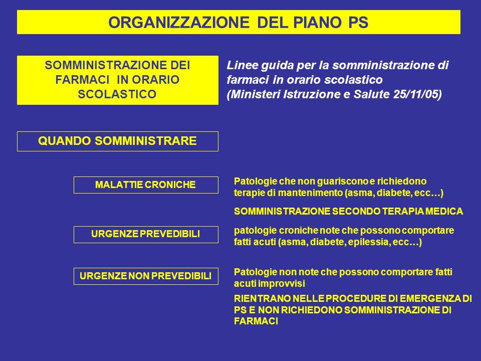 ORGANIZZAZIONE DEL PIANO PS