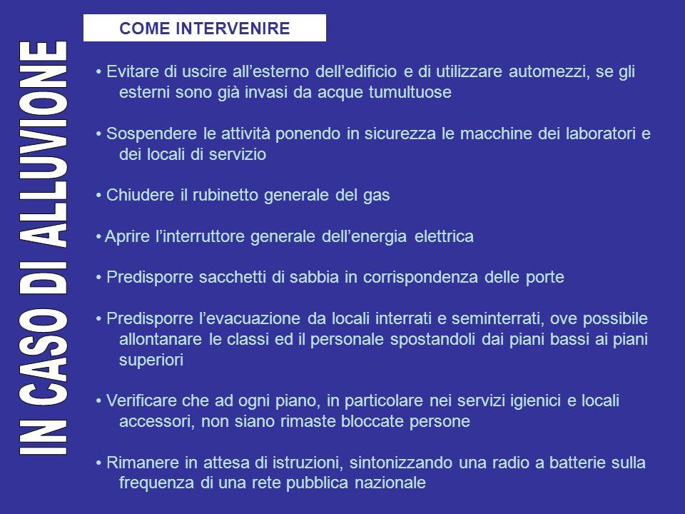 IN CASO DI ALLUVIONE COME INTERVENIRE