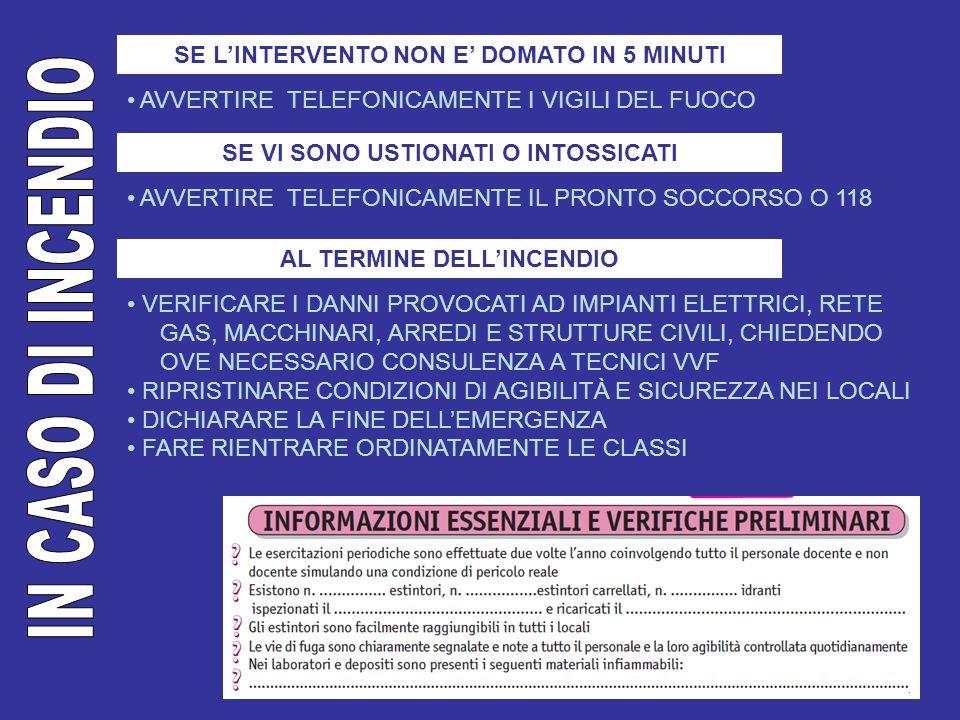 IN CASO DI INCENDIO SE L'INTERVENTO NON E' DOMATO IN 5 MINUTI