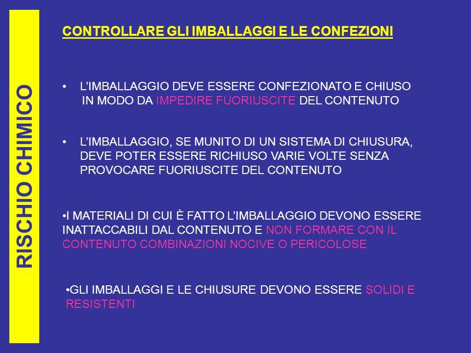 RISCHIO CHIMICO CONTROLLARE GLI IMBALLAGGI E LE CONFEZIONI