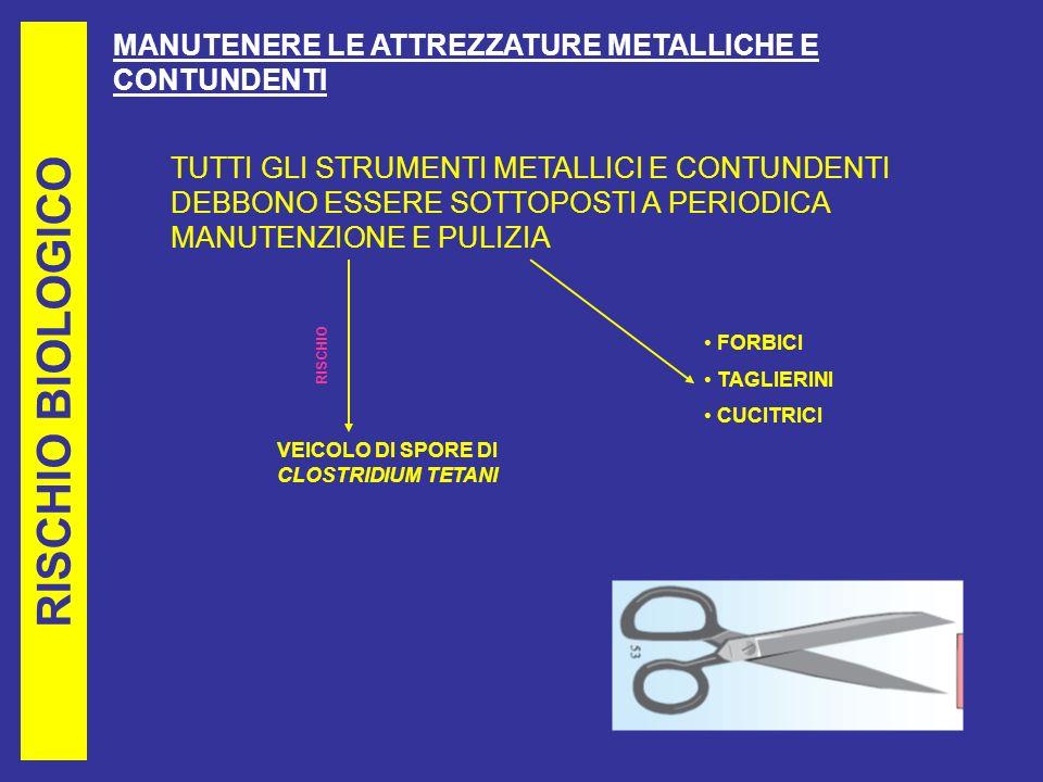 RISCHIO BIOLOGICO MANUTENERE LE ATTREZZATURE METALLICHE E CONTUNDENTI