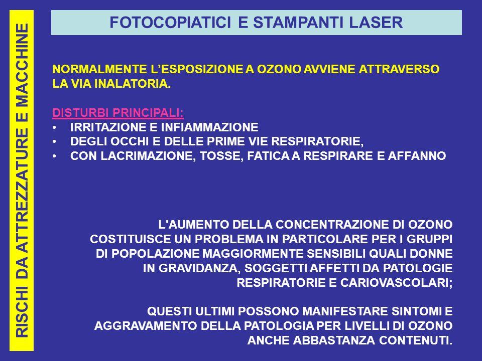 FOTOCOPIATICI E STAMPANTI LASER RISCHI DA ATTREZZATURE E MACCHINE