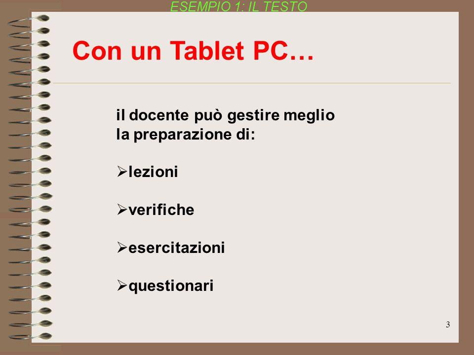 Con un Tablet PC… il docente può gestire meglio la preparazione di: