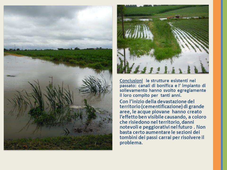 Conclusioni le strutture esistenti nel passato: canali di bonifica e l' impianto di sollevamento hanno svolto egregiamente il loro compito per tanti anni.