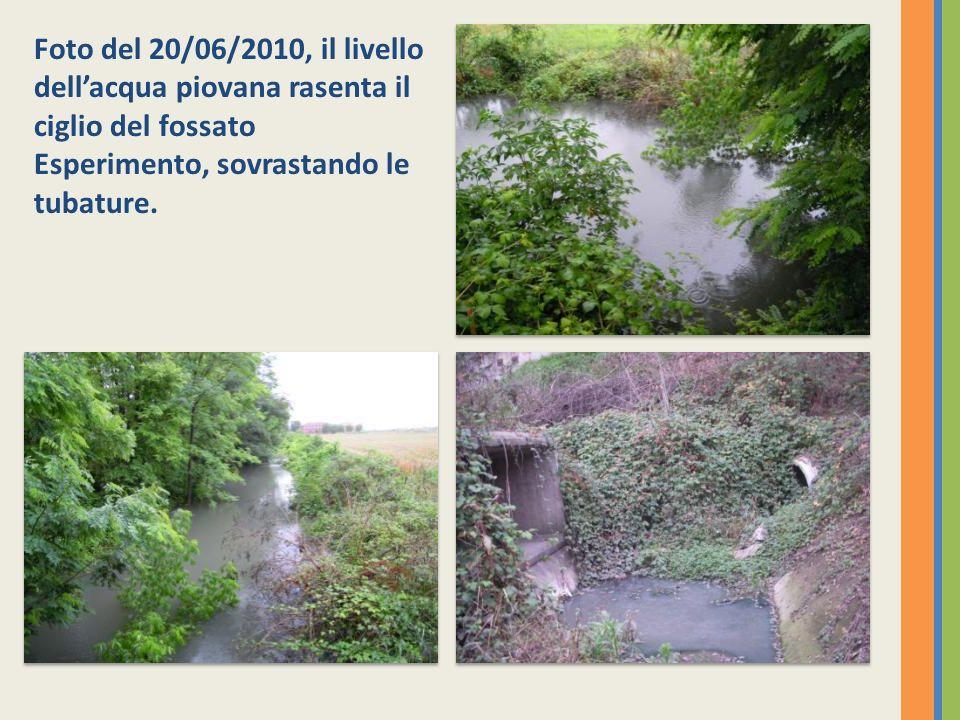 Foto del 20/06/2010, il livello dell'acqua piovana rasenta il ciglio del fossato Esperimento, sovrastando le tubature.