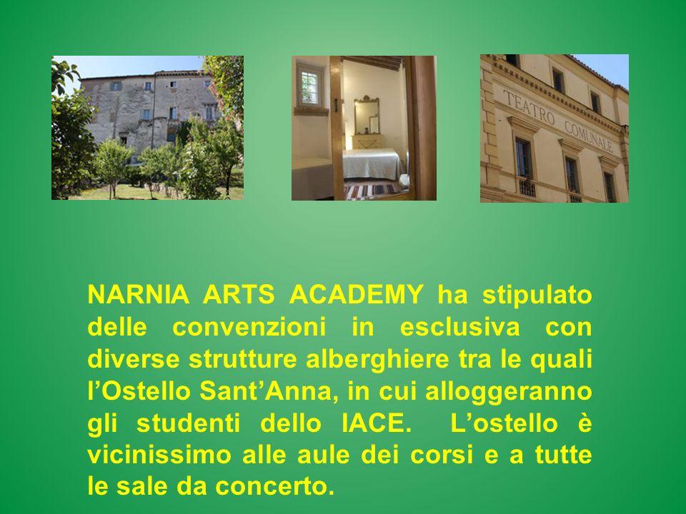 NARNIA ARTS ACADEMY ha stipulato delle convenzioni in esclusiva con diverse strutture alberghiere tra le quali l'Ostello Sant'Anna, in cui alloggeranno gli studenti dello IACE.