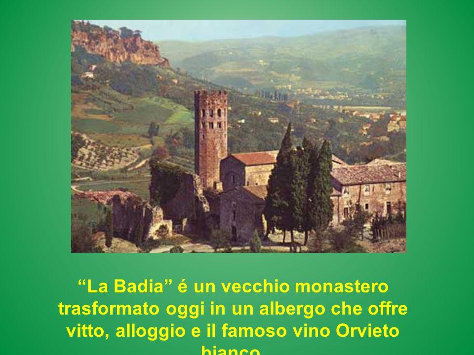 La Badia é un vecchio monastero trasformato oggi in un albergo che offre vitto, alloggio e il famoso vino Orvieto bianco.