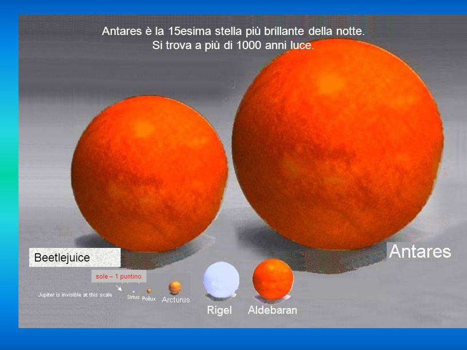 Antares è la 15esima stella più brillante della notte.