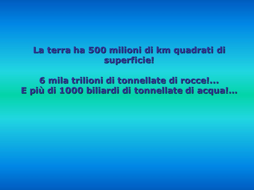 La terra ha 500 milioni di km quadrati di superficie!