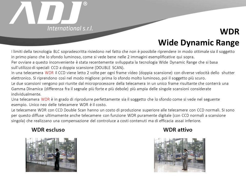 WDR Wide Dynamic Range WDR escluso WDR attivo