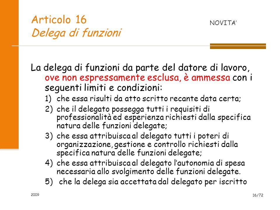 Articolo 16 Delega di funzioni