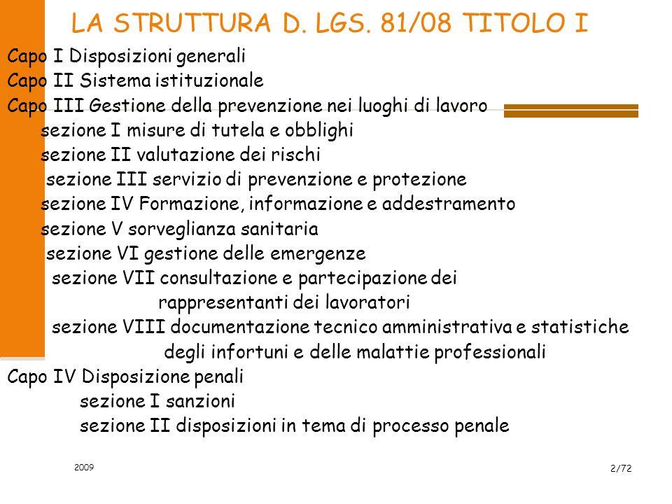 LA STRUTTURA D. LGS. 81/08 TITOLO I