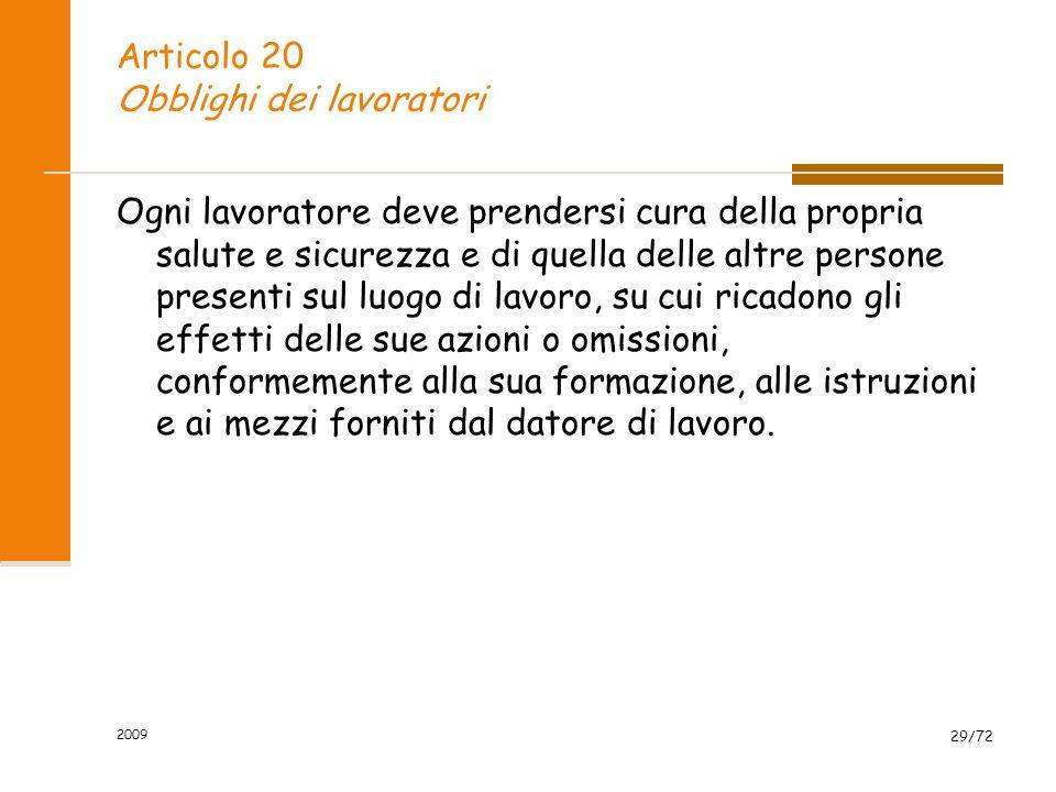 Articolo 20 Obblighi dei lavoratori