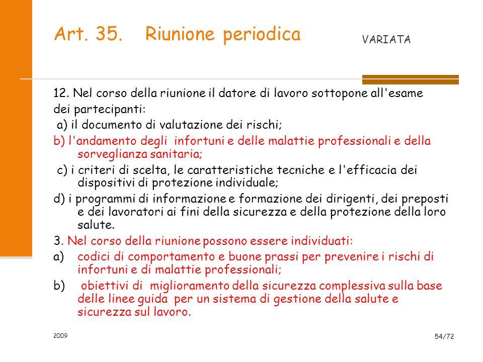 Art. 35. Riunione periodica
