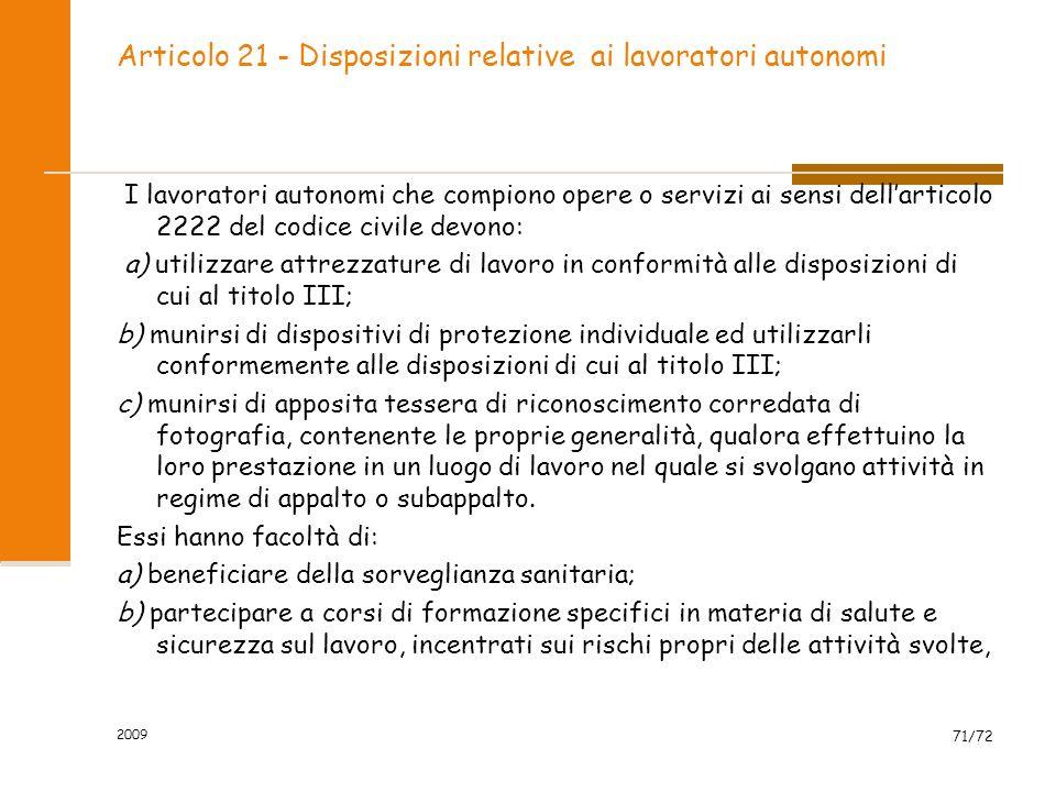 Articolo 21 - Disposizioni relative ai lavoratori autonomi