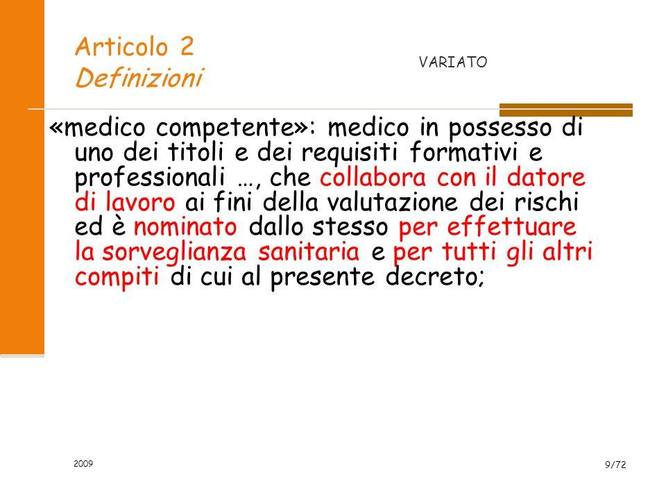 Articolo 2 Definizioni VARIATO.