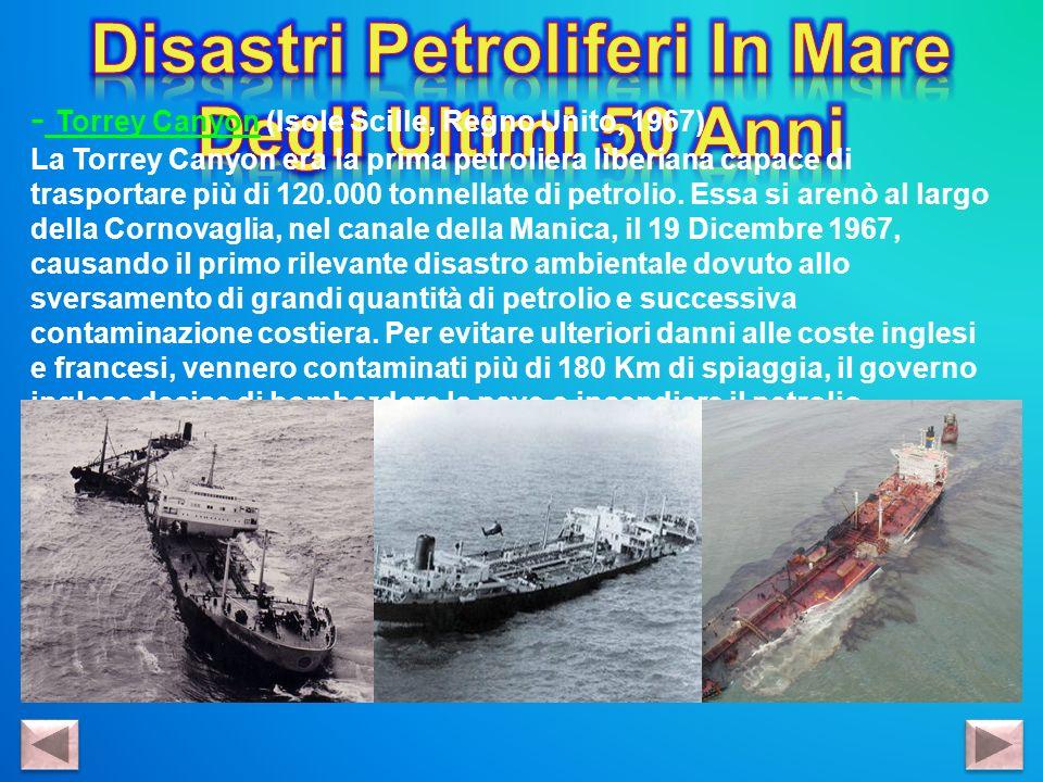 Disastri Petroliferi In Mare Degli Ultimi 50 Anni