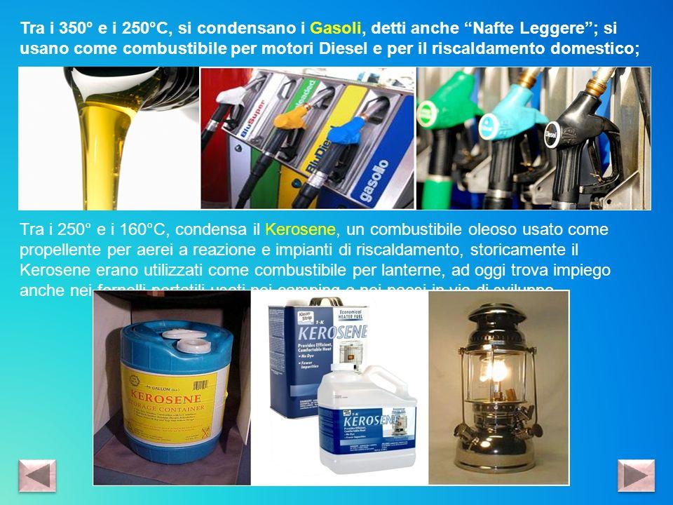 Tra i 350° e i 250°C, si condensano i Gasoli, detti anche Nafte Leggere ; si usano come combustibile per motori Diesel e per il riscaldamento domestico;