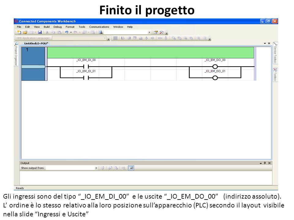 Finito il progetto Gli ingressi sono del tipo _IO_EM_DI_00 e le uscite _IO_EM_DO_00 (indirizzo assoluto).