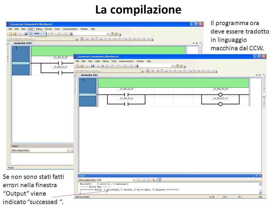La compilazione Il programma ora deve essere tradotto in linguaggio macchina dal CCW.