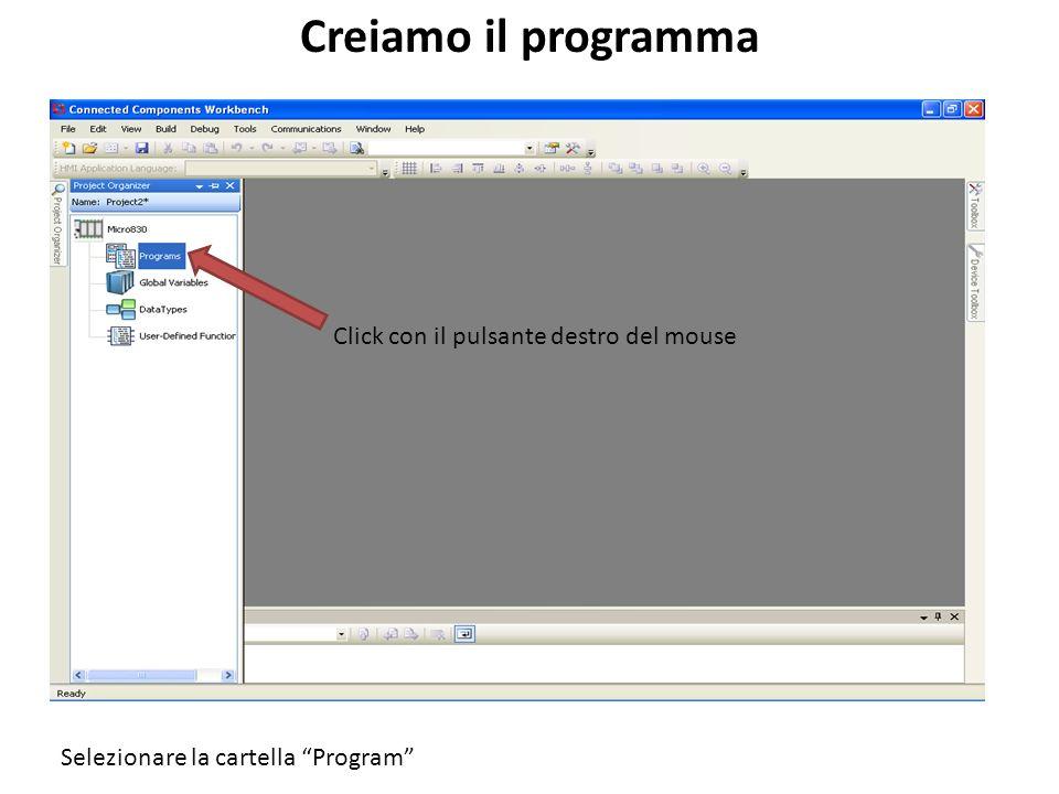 Creiamo il programma Click con il pulsante destro del mouse