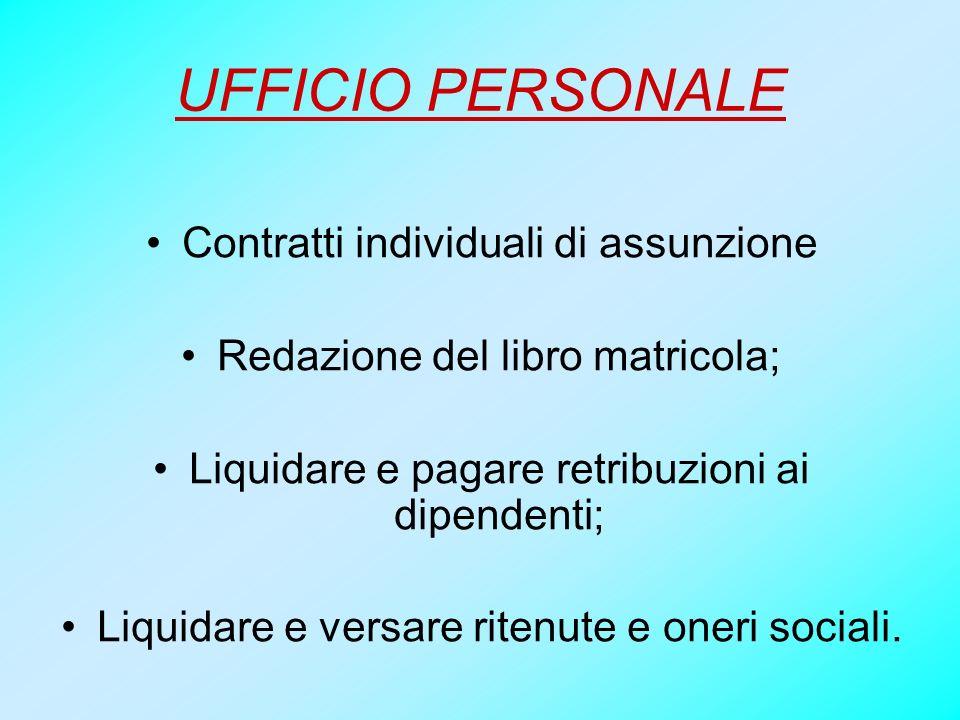 UFFICIO PERSONALE Contratti individuali di assunzione