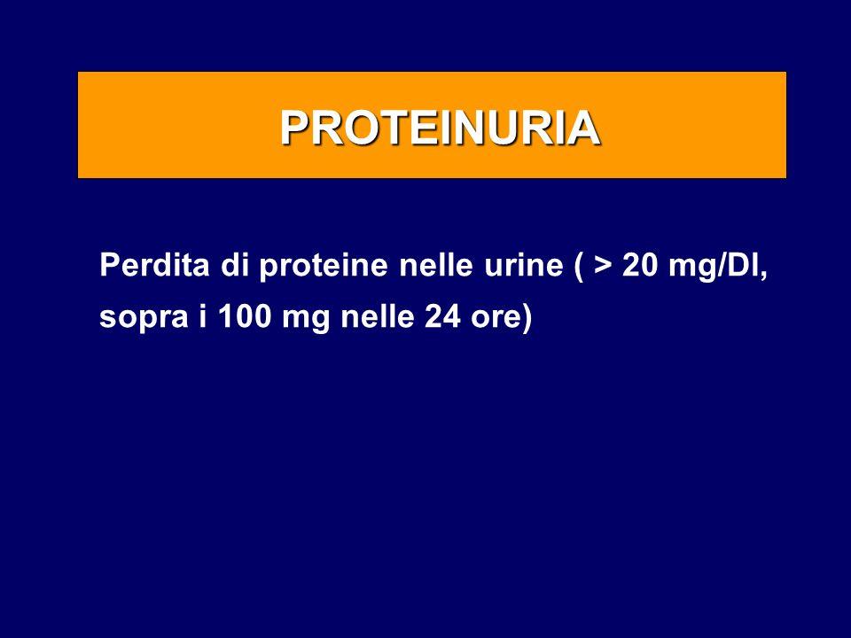 PROTEINURIA Perdita di proteine nelle urine ( > 20 mg/Dl, sopra i 100 mg nelle 24 ore)