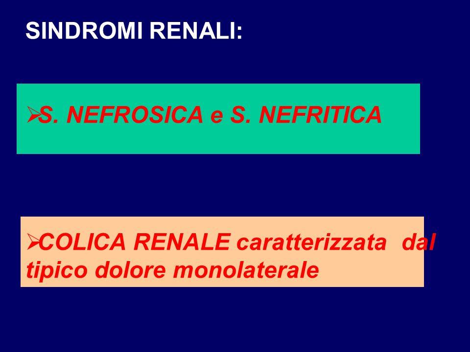 SINDROMI RENALI: S. NEFROSICA e S. NEFRITICA.