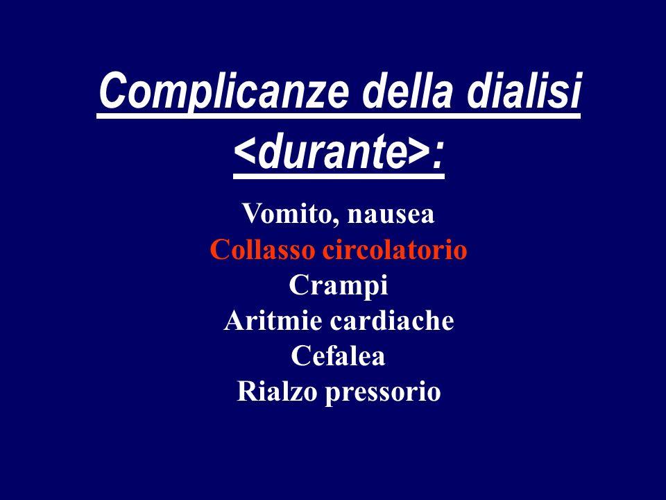 Complicanze della dialisi <durante>: Collasso circolatorio