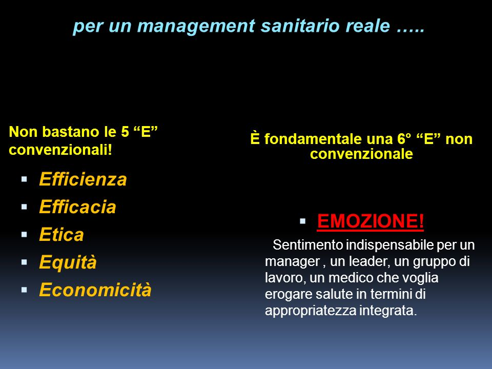 per un management sanitario reale ….. EMOZIONE!